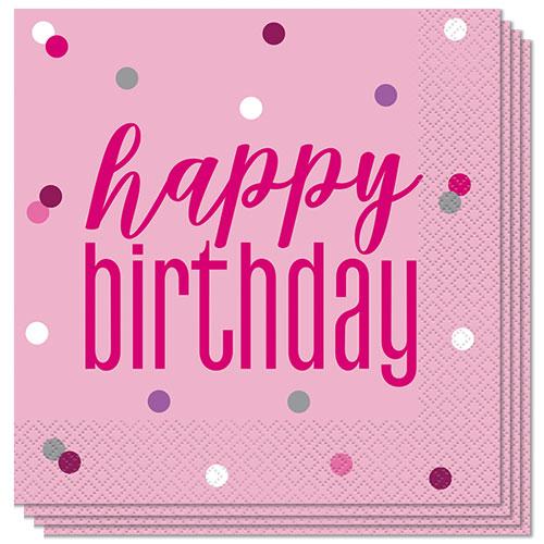 Servilletas De Almuerzo Feliz Cumpleaños Rosa Brillo 33Cm 2Ply - Paquete De 16