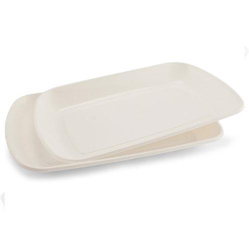 Bandejas Blancas Rectangulares De Plástico De 35 Cm - Paquete De 2