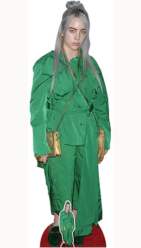Billie Eilish Traje verde Bolso dorado Recorte de cartón tamaño natural 161cm