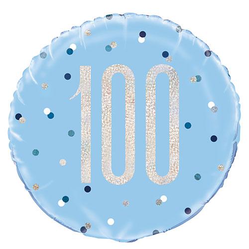 Azul Brillo Edad 100 Holográfica Globo De Helio De Aluminio Redondo 46Cm / 18 In