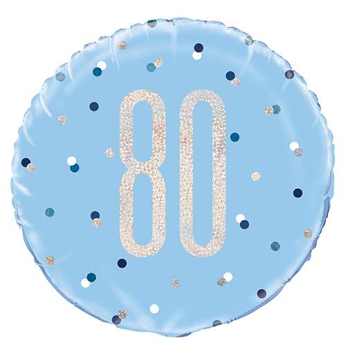 Azul Brillo Edad 80 Holográfica Globo De Helio De Aluminio Redondo 46Cm / 18 In