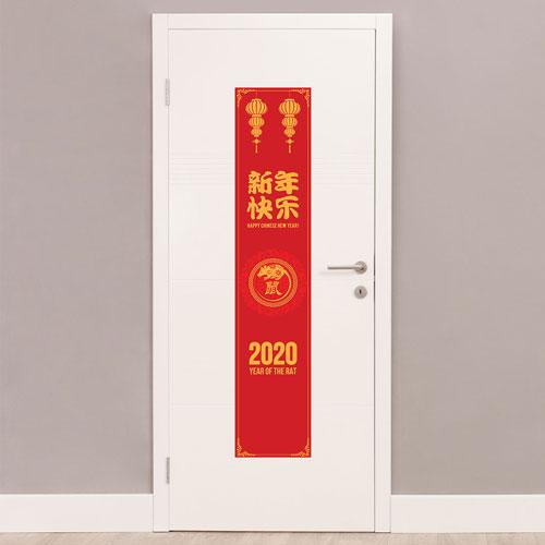 Año 2020 Chino De Las Linternas De Rata Retrato Decoración De Letrero De Fiesta De Pvc 122 Cm X 25 Cm