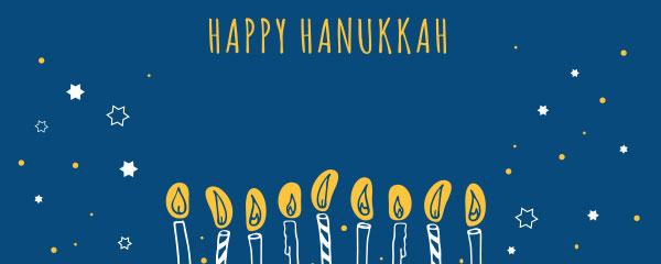 Happy Hanukkah Velas Y Estrellas Diseño Medio Personalizado Banner - 6 Pies X 2.25 Pies