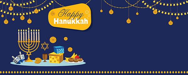Feliz Hanukkah Luces Guirnaldas Diseño Medio Personalizado Banner - 6 Pies X 2.25 Pies