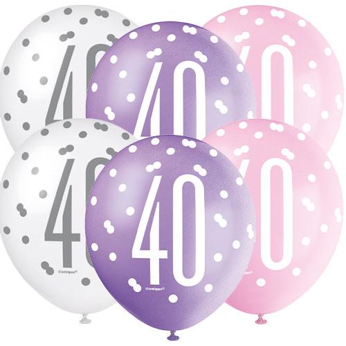 Pink Glitz Age 40 Globos de látex biodegradables surtidos 30cm / 12 in - Paquete de 6