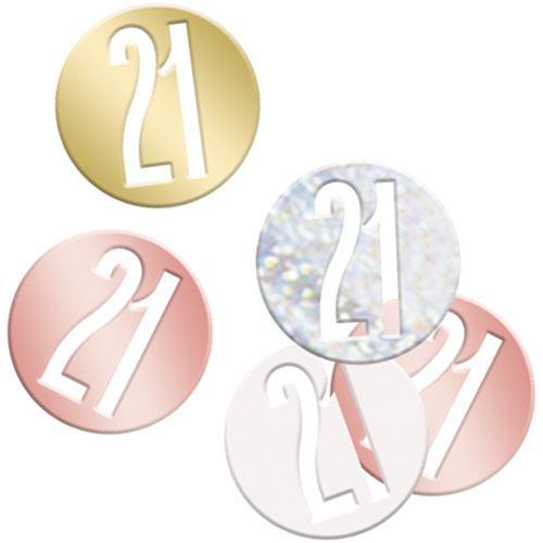 Oro Rosa Brillo Edad 21 Holográfica Surtido Mesa Confeti 14 Gramos