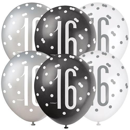 Brillo Negro, Edad 16, Globos De Látex Biodegradables Surtidos 30Cm / 12 In - Paquete De 6