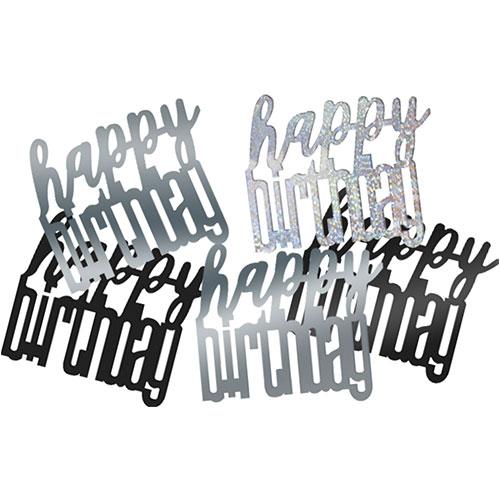 Brillo Negro Feliz Cumpleaños Mesa Surtida Holográfica Confeti 14 Gramos