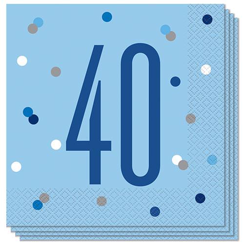 Azul Brillo Edad De 40 Servilletas De Almuerzo 33Cm 2Ply - Paquete De 16