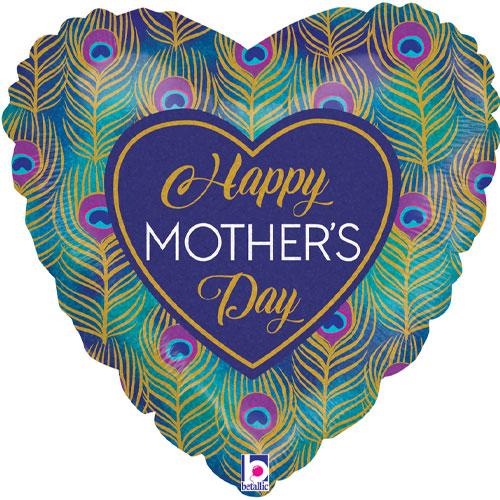 Brillo Pavo Real Feliz Día De La Madre En Forma De Corazón Lámina Holográfica Globo De Helio 46Cm / 18 In