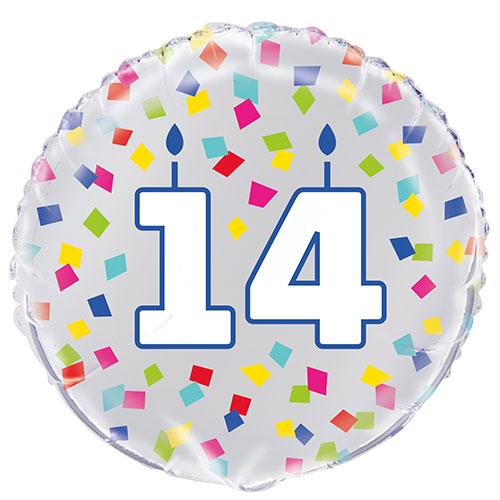 Confeti Arcoíris Cumpleaños 14 Años Globo De Helio De Aluminio Redondo 46Cm / 18 In