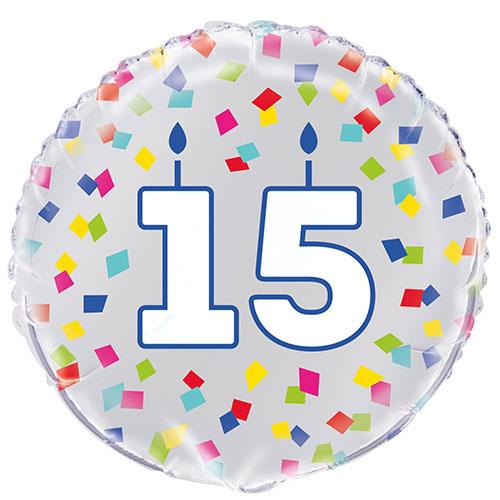 Confeti Arcoiris Cumpleaños 15 Años Globo De Helio De Aluminio Redondo 46Cm / 18 In