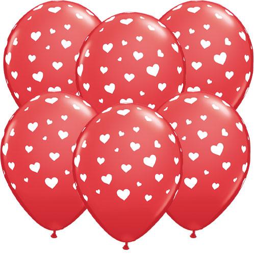Corazones De San Valentín Globos De Látex Rojo Helio Qualatex 28Cm / 11 In - Paquete De 6