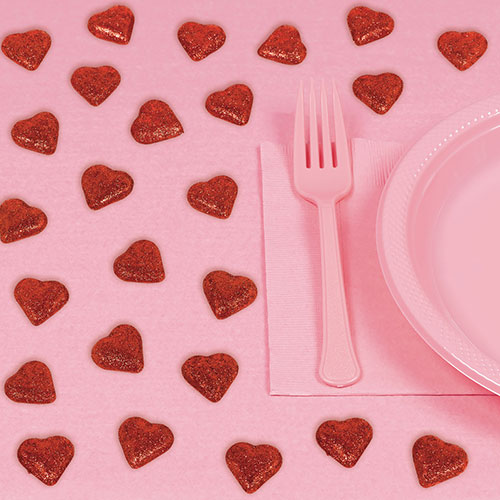 Corazón Rojo Brillante Dispersa Decoraciones De Mesa Para El Día De San Valentín - Paquete De 24