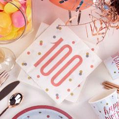 Suministros De Fiesta De Cumpleaños Número 100 De Glitz Dorado Rosa