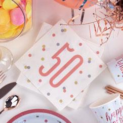 Suministros De 50 Cumpleaños De Glitz Oro Rosa