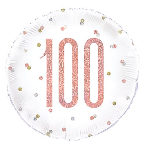 Oro Rosa Brillo Edad 100 Holográfica Globo De Helio De Papel Redondo 46Cm / 18 In