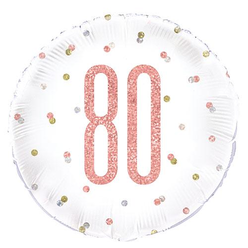 Oro Rosa Brillo Edad 80 Holográfica Globo De Helio De Papel Redondo 46Cm / 18 In