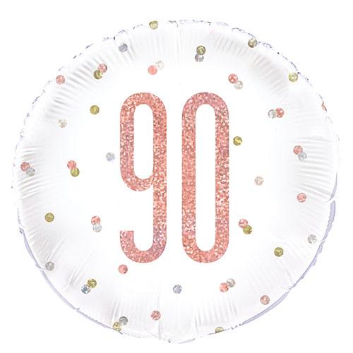 Oro Rosa Brillo Edad 90 Holográfica Globo De Helio De Papel Redondo 46 Cm / 18 In