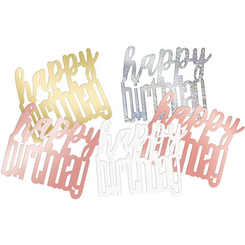 Oro Rosa Brillo Feliz Cumpleaños Holográfico Surtido Mesa Confeti 14 Gramos