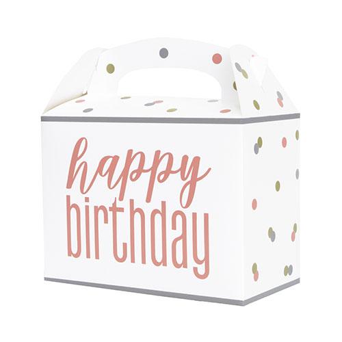 Caja De Papel De Feliz Cumpleaños Con Brillo De Oro Rosa - Paquete De 6