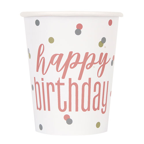 Brillo De Oro Rosa Tazas De Papel De Cumpleaños Holográficas 270Ml - Paquete De 8