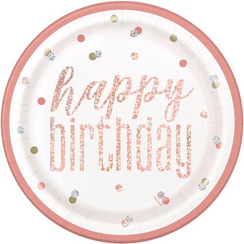 Platos De Papel Redondos De Cumpleaños Holográficos Con Brillo De Oro Rosa De 22 Cm - Paquete De 8
