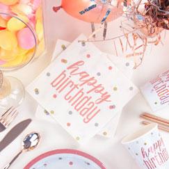 Rosa Oro Brillo Fiesta De Cumpleaños Feliz Suministros