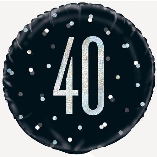 Negro Brillante Edad 40 Holográfica Globo De Helio De Aluminio Redondo 46Cm / 18 In