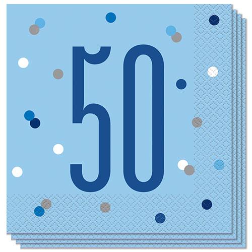 Servilletas De Almuerzo Edad De Brillo Azul 50 33Cm 2Ply - Paquete De 16