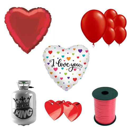Corazones De Colores Te Amo Pequeño Paquete De Gas Helio Con Globos Para El Día De San Valentín