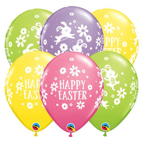 Conejitos De Pascua Y Margaritas Surtidos Globos De Látex Redondo De Helio Qualatex 28Cm / 11 In - Paquete De 10