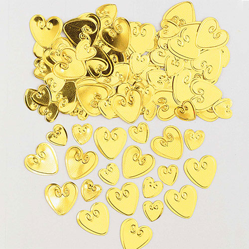 Confeti De Mesa De Corazones Amorosos De Oro 14 Gramos
