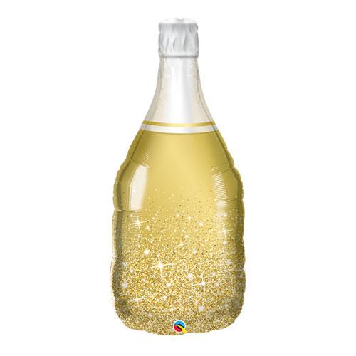 Botella Burbujeante Dorada Lámina De Helio Globo Qualatex Gigante 99Cm / 39 In