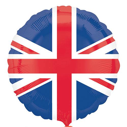 Bandera De Gran Bretaña Union Jack Globo De Helio De Aluminio Redondo 45Cm / 18 In