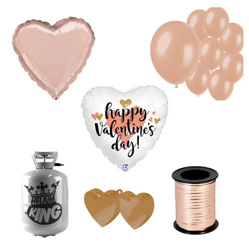 Feliz Día De San Valentín Paquete De Gas Helio Pequeño De Oro Rosa Con Globos