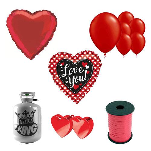 Corazón A Corazón Te Amo Día De San Valentín Pequeño Paquete De Helio Con Globos