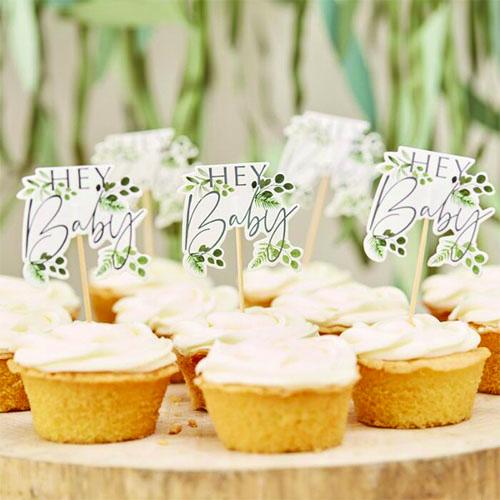 Decoraciones Botánicas Hey Baby Cupcake Toppers - Paquete De 12