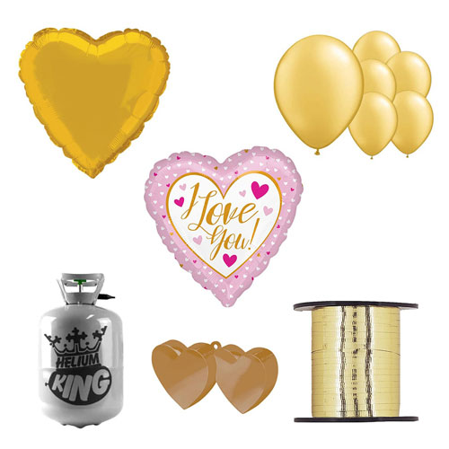 Te Amo Oro Y Rosa Día De San Valentín Pequeño Paquete De Gas Helio Con Globos