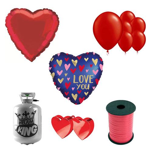 Te Amo Azul Marino Día De San Valentín Pequeño Paquete De Gas Helio Con Globos