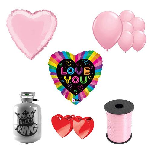 Neón Te Amo Día De San Valentín Pequeño Paquete De Gas Helio Con Globos