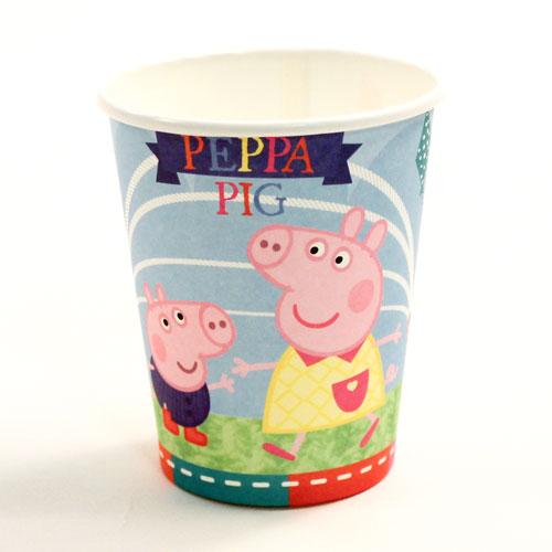Vasos De Papel Azul Peppa Pig 260Ml - Paquete De 8