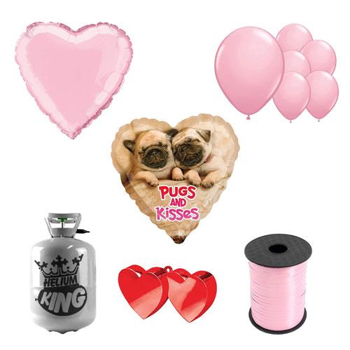 Pugs And Kisses Día De San Valentín Pequeño Paquete De Helio Con Globos