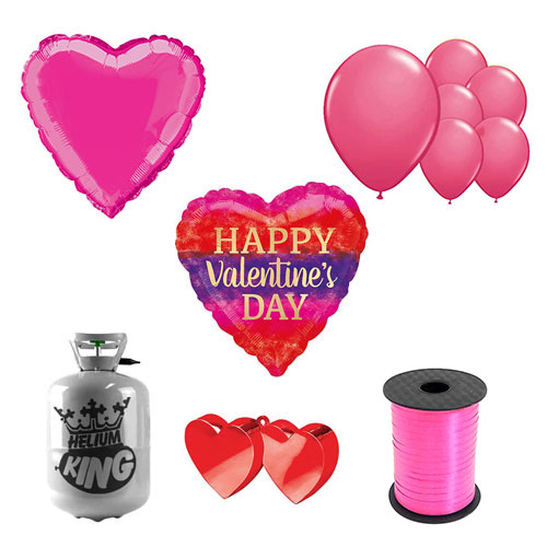 Rayas De Acuarela Día De San Valentín Pequeño Paquete De Gas Helio Con Globos