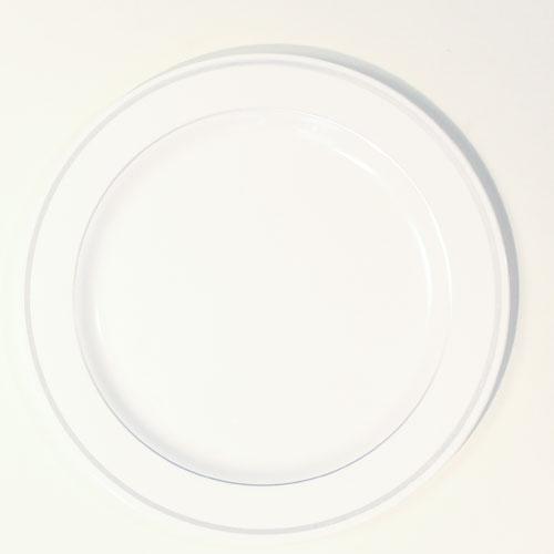 Blanco y Plateado Platos de las Primas Varian con Borde - Pack de 6