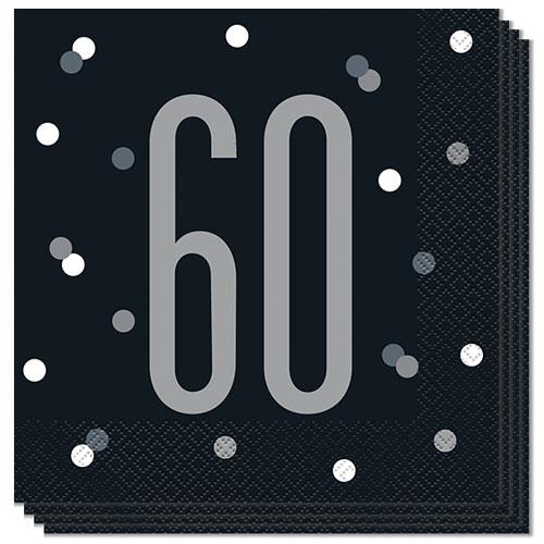 Negro Servilletas De Almuerzo Edad 60 Brillo 33Cm 2Ply - Paquete De 16