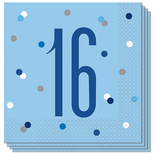 Servilletas De Almuerzo Edad De Brillo Azul 16 33Cm 2Ply - Paquete De 16