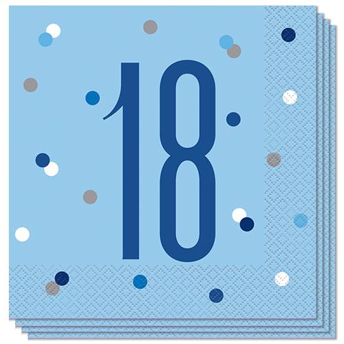 Servilletas De Almuerzo Edad De Brillo Azul 18 33Cm 2Ply - Paquete De 16