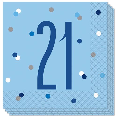 Servilletas De Almuerzo Edad De Brillo Azul 21 33Cm 2Ply - Paquete De 16