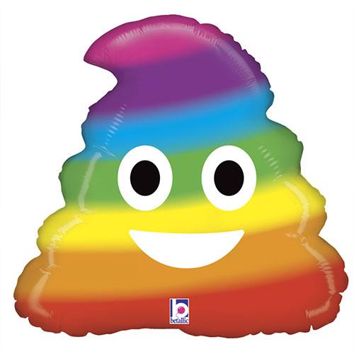 Emoji Rainbow Poo Helio Globo De Aluminio 51Cm / 20 In